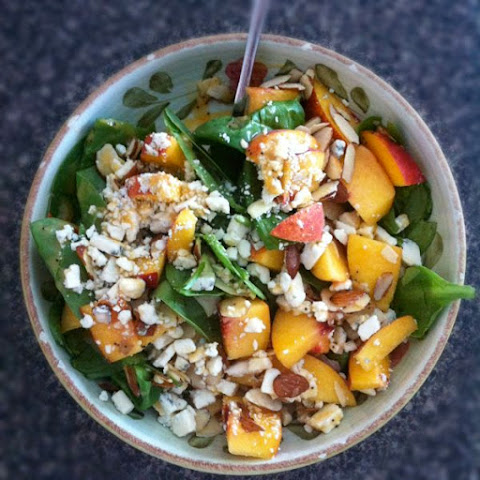 Spinach Salad with Fresh Late Summer Peaches, Gorgonzola and Almonds