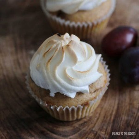 Damson Plum Muffins with Meringue Topping