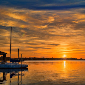Golden Sky by Shutter Bay Photography - Landscapes Sunsets & Sunrises ( water, clouds, waterscape, colors, sunset, boats, golden )