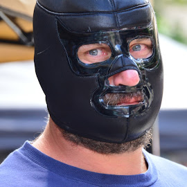 The Masked One by Thomas Shaw - People Musicians & Entertainers ( bear, mask, schwanz, the works, raleigh, otto, masked, gouge pro wrestling, wrestler, eyes, gouge, blue, gouge wrestling, july 4th, tee shirt, man,  )
