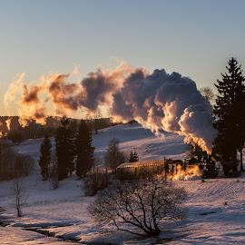 Winter dream by Christian Spiller - Transportation Trains ( steam engine, warm light, winter, schiedefeld, sunset, steam train, snow, sundown, germany, rennsteig )