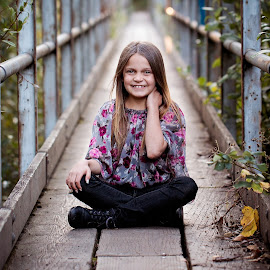 Bridge by Michael  Thomas Ireland - Babies & Children Child Portraits ( child, sitting, anna, bridge, michaelthomasireland )