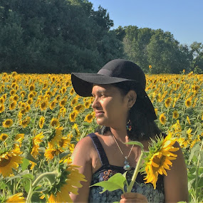 Sunflower Field 1 by Vijay Govender - People Portraits of Women ( sunflowers, portrait )
