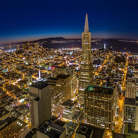 Twilight in San Francisco by Julio Gonzalez - Buildings & Architecture Office Buildings & Hotels ( fisheye, night photo, twilight, rooftop, em5, san francisco )