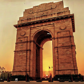 India Gate sunrise by Mohsin Khan - Buildings & Architecture Statues & Monuments ( details, magic hour, architecture, sunrise, landscape, heritage, early morning )