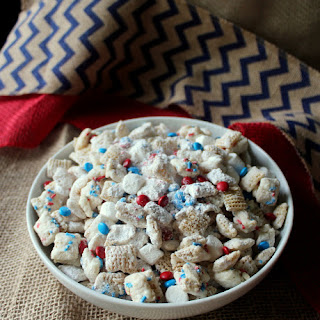 Patriotic White Chocolate Puppy Chow