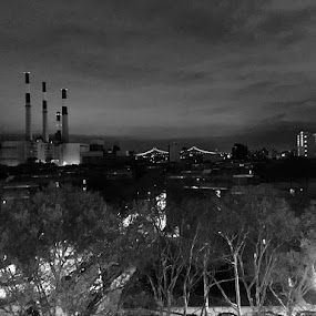 Stacks and Bridges by Chris Gray - Black & White Buildings & Architecture ( clouds, smoke stacks, bridge )