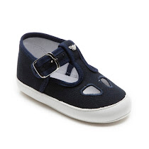 Armani Junior Navy Canvas T-bar BUCKLE