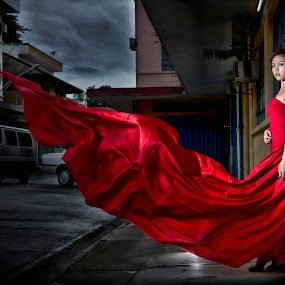 Lady in Red by Juanis Attau - People Portraits of Women ( lady in red, women, lady, red )