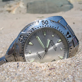 Mens Wrist Watches in the sand - macro by Mihaela Scobici - Artistic Objects Clothing & Accessories ( mens wrist watches, sand, macro, mens wrist watches in the sand - macro, fossil )