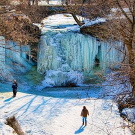 Wequiock Falls by John Kehoe - City,  Street & Park  City Parks ( wisconsin, winter, ice, creek, falls, uwgb, wequiock )