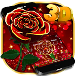 3D Luxurious Red Rose Keyboard Theme Icon