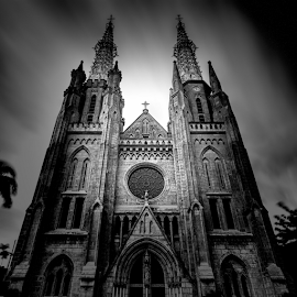 The Cathedral by Rio Tanusudiro - Black & White Buildings & Architecture ( building, church, mood, bw, clarity, light )