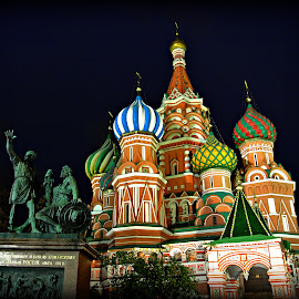 Moscow at night by Pedro Adrega - Buildings & Architecture Places of Worship ( contrast, church, moscow, night, colours )