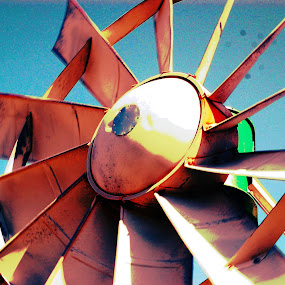 Rusting Wind  by Charles Shope - Artistic Objects Antiques ( farm, wind, sky, color, outdoor, rust, antique, windmill,  )