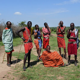 Maasai Men by Cyndi Rosenthal - People Street & Candids ( tribal men africa maasai )