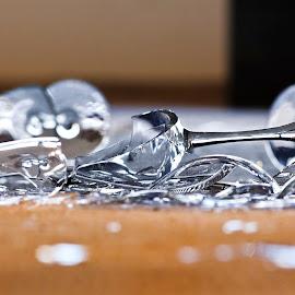 Broken Wine Glasses by Dave Skorupski - Artistic Objects Glass ( abstract, wine, glasses, sharp, shattered, art, shatter, crystal, broke, crystals, broken, shard, shards, floor, wineglasses, artprize, glass, stems, stem )