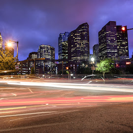 Bwoston by Givanni Mikel - City,  Street & Park  Night ( boston, light trails, street scene, downtown, north end )