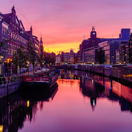 Amsterdam Sunrise by Nick Johnson - City,  Street & Park  Vistas ( pink, amsterdam, sunrise, canal, netherlands )
