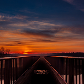 Brigde to... by Nedelciu Alexandru - Landscapes Sunsets & Sunrises ( sky, sunset, bridge, dusk, river )