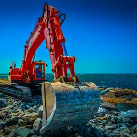 Excavator Atlantis by Mauritz Janeke - Transportation Other ( hdr, dubai, excavator, lr cc, mauritz, sea landscape, atlantis )