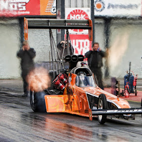 The Launch by Peter Parker - Sports & Fitness Motorsports ( uk, flames, pearson, drag, race, shelley, santa, dragster, racing, power, fuel, nitro, top, pod )