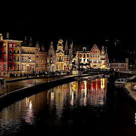 Gent (Belgium) by Ad Spruijt - City,  Street & Park  Night