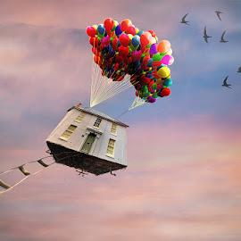 by Kim Jones - Digital Art Things ( sky, doors, ladder, balloons )