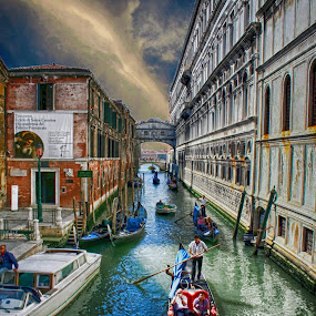 Venice Italy Waterway by Dennis Granzow - City,  Street & Park  Street Scenes