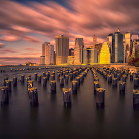 Lower Manhattan by Stanley P. - City,  Street & Park  Skylines (  )