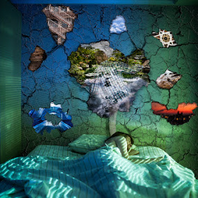 Incomniac's Dream by Chris Fry - Digital Art People ( surrealism, dream, green, bed, night time, self portrait, self, sleep, photo, portrait, photography, manipulation, bedroom, blue, photo manipulation, digital art, composition, night, surreal, world, incomniac, photoshop )