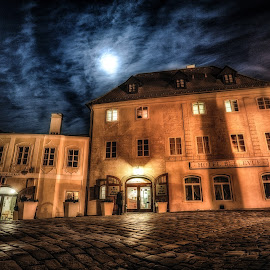 Cesky Krumlov Hotel Bellevue by Adam Lang - City,  Street & Park  Historic Districts ( cesky krumlov, street, czech republic, night, hotel, hotel bellevue )