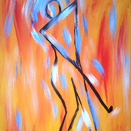 HAPPY GOLFER by Zoritza  Wejnfalk - Painting All Painting ( modern art, golfer, abstract art, zoritza, wejnfalk )