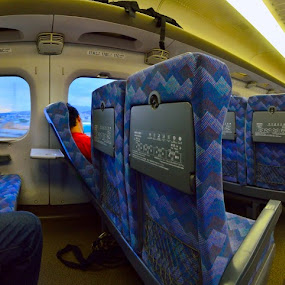 Inside Shinkansen by Kamal Kamaludin - Transportation Trains ( yamabiko, technology, jr, high-speed, commuter, travel, transportation, asian, city, shinkansen, tokyo, superexpress, nozomi, train, platform, station, white, honshu, japanese, 3, 2, tourist, railway, tsubabe, aerodynamic, fast, asama, series, futuristic, vehicle, line, hayate, express, super, japan, asia, rail, max, speed, carriages, kagochi, track, departure, main, passenger, sakura, high, nose, design, bullet )