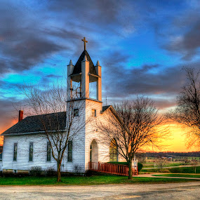 Little Country Church by John Larson - Buildings & Architecture Places of Worship ( sky, country, church, rural, sunset, clouds, trees )