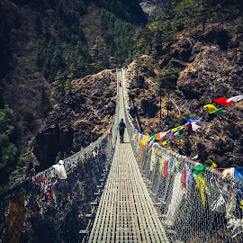 The Bridge to Namche Bazaar by Madhujith Venkatakrishna - Buildings & Architecture Bridges & Suspended Structures