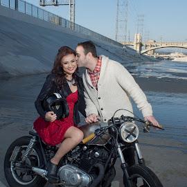 Biker soul by Yansen Setiawan - Wedding Other ( wedding, sweetheart, la river, lovebirds, couple, classic bike, engagement )