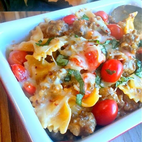 Italian Sausage and Pasta in a Cream Basil Sauce