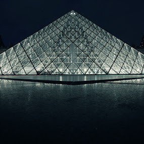 The Louvre at Night 2 by Katie Ehrlich - Buildings & Architecture Public & Historical ( paris, louvre, pyramid, france, night, french, museum )