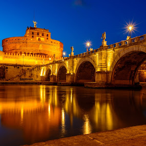 Sant Angelo by Luis Silva - Buildings & Architecture Bridges & Suspended Structures ( sant angelo, rome, italy, golden hour,  )