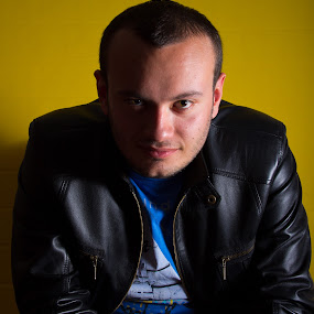 leather man by Samet Işık - People Portraits of Men ( flash, blue, yellow, people, man, black )