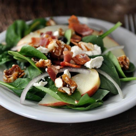 Amazing Spinach Salad with Sweet-Spicy Nuts, Apples, Feta and Bacon
