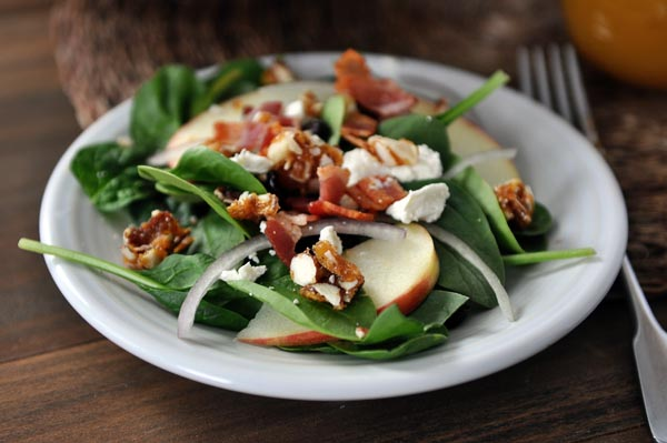 Amazing Spinach Salad with Sweet-Spicy Nuts, Apples, Feta and Bacon ...