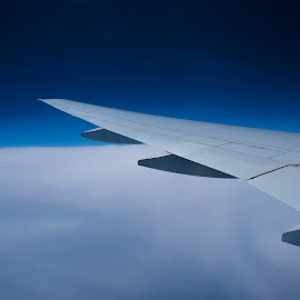The space and sheet of cloud by Abbas Mohammed - Transportation Airplanes ( clouds, beoing, b777, emirates, wing, engine, 777, space )