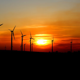Spring Sunset by Pete Bouman - Landscapes Sunsets & Sunrises ( wind, orange, turbine, sunset, generator, windmill )