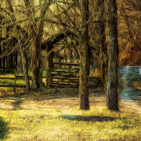 Late Afternoon Ozark Barn by Allen Crenshaw - Painting All Painting ( barn, afternoon, art, early spring, painting )