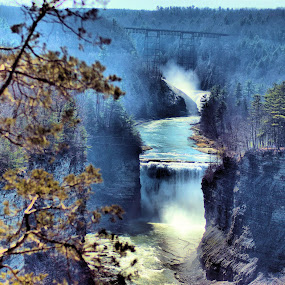 Middle and Upper falls at Letchwoth state park by Jim Davis - Landscapes Forests