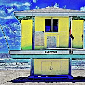 Lifeguard Station by Neil Dern - Buildings & Architecture Other Exteriors ( water, sharp, colors, beach, landscape )