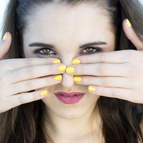 Body parts.. by Tina Balgavi - People Body Parts ( hands, lips, lipstick, pink, yellow, nose, eyes,  )
