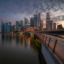 by Gordon Koh - City,  Street & Park  Skylines ( shenton way, clouds, skyline, skyscraper, financial district, sunset, riverfront, travel, cityscape, singapore, city )